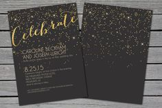 items similar to wedding invitation suite gatsby black and gold new years eve glitter printable wedding invitation save the date on etsy