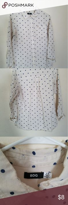 BDG Blue and Off White Polka Dot Button Down Classic Oxford Button Down with Long sleeve with colar from Urban Outfitters Size L. Blue polka dots on off white shirt. Sleeves are meant to be rolled to 3/4. Some pilling and wear as shown in pic 5. Soft material.  Worn condition BDG Tops Button Down Shirts