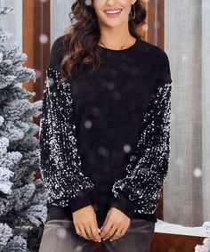 Suzanne Betro Weekend Black Sequin-Sleeve Blouson Sweatshirt - Women & Plus Holiday Party Dresses, Black Sequins, Sequin Skirt, Tunic Tops, Pullover, Sweatshirts, Sleeves, Cotton, High Point