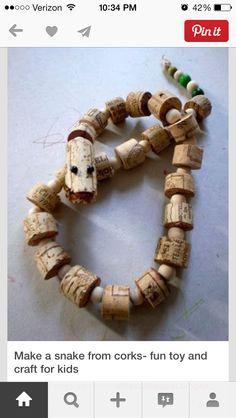 cork snake w wooden beads