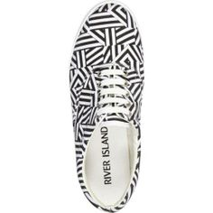 Black and white graphic print plimsolls on InStores