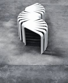 Fan Stool by BEdesign. The inspiration behind the Fan stool's unique shape comes from the empty corner spaces in a room. It can be combined in several different ways thanks to its 90 degree shape, e.g. as a stool, bench or a table, and is therefore a perfect fit for any apartment. Via AMM blog. http://bedesign.fi