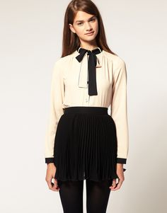 ASOS Contrast Tie And Placket Blouse  $54.89