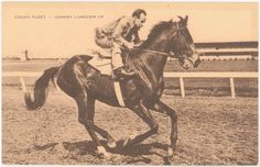 Count Fleet, 1943 Triple Crown winner, with Hall of Fame jockey Johnny Longden in the saddle. Longden later became a trainer, winning two thirds of the 1969 Triple Crown by saddling Majestic Prince to win the  Kentucky Derby and Preakness. He is the only person to date to win the Derby as both a jockey and a trainer. Count Fleet, sired by 1928 Kentucky Derby winner Reigh Count, in turn sired 1951 Derby winner Count Turf, as well as the dam of 1965 winner Lucky Debonair.