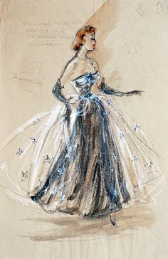 vintage fashion illustration by Edith Head ~ gorgeous evening gown