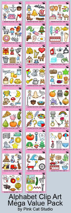 Alphabet Clip Art Mega Value Pack: This huge value packed collection of 156 unique clipart designs contains 6 clip art designs for each letter of the alphabet. All images come in both color and black and white for a total of 312 images. By Pink Cat Studio