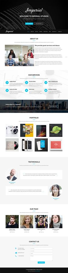 Imperial is a #Free modern and #creative #Bootstrap one page #template best suitable for creative agencies, studios, digital design agencies or other similar businesses. The header comes with full screen hero part where you can introduce your company.