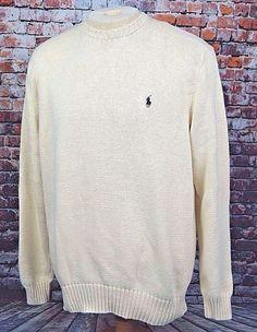 Polo Ralph Lauren Men's Crewneck Sweater Pima Cotton Knit Ivory White Sz. XL #PoloRalphLauren #Crewneck