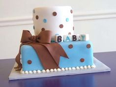 bling and blue baby shower | White Blue and Brown Baby Shower Cake - CMNY Cakes