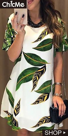 Leaf Print Open Back Casual Dress Simple Dresses, Casual Dresses, Short Sleeve Dresses, Summer Dresses, Simple Dress Pattern, African Wear Dresses, Pencil Skirt Outfits, Tee Dress, Chic Dress