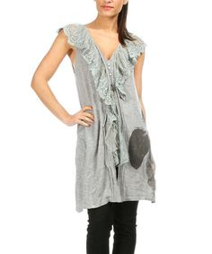 Look what I found on #zulily! Gray & Black Lace-Panel Shift Tunic #zulilyfinds