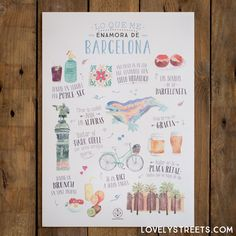Lámina Lovely Streets - Lo que me enamora de Barcelona #print #illustration #design #deco #cities #travel #barcelona