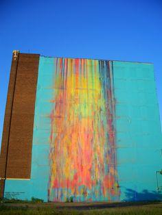 "Katie Carig ""Splash"" Mural.  Downtown Detroit #Ridecolorfully"