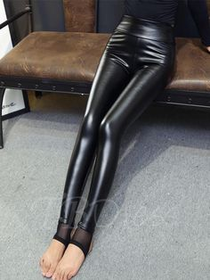 #TBDress - #TBDress Winter Slim Thicker Elastic Womens Leggings - AdoreWe.com Pvc Leggings, Wet Look Leggings, Shiny Leggings, Slim Thick, Leggings Fashion, Leather Fashion, Leather Pants, Lederhosen, Spandex
