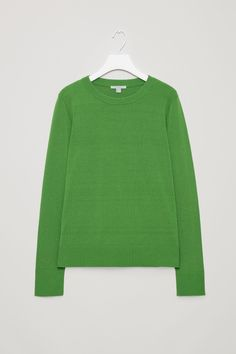 COS image 4 of Cotton-knit jumper in Bottle Green
