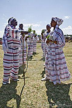 Young Ethiopian men and women Performing