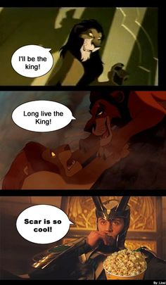 I think, Loki rooting for Scar in The Lion King. Loki and The Lion King Marvel Comics, Avengers Humor, Funny Marvel Memes, Dc Memes, Marvel Jokes, Loki Thor, Tom Hiddleston Loki, Marvel Avengers, Funny Memes