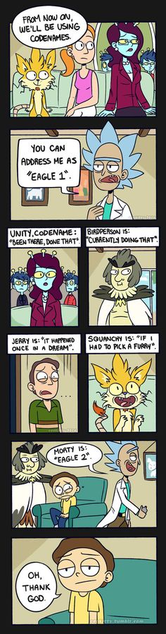 Rick and Morty: Eagle 1 by ecokitty. Rick and Morty & Parks and Rec crossover Rick I Morty, Rick And Morty Comic, Wubba Lubba, Ricky And Morty, Get Schwifty, Adult Cartoons, Parks N Rec, Anime, Funny Comics