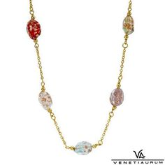 "VENETIAURUM Necklace 14k 925 and 24K Multicolor Murano Glass Length 16"" w 2"" Ext | eBay https://www.facebook.com/AColourfulPast"