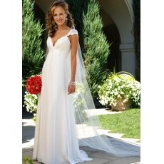 [US$219.99] Cap Sleeves Empire Waist V-Neck Satin Chiffon Wedding Dress