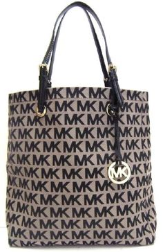 awesome Michael Kors N S Signature Tote in Beige   Black - Patent Leather  Trim 474c02fad7b