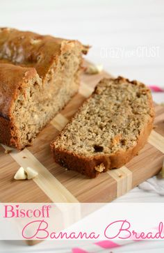 Biscoff Banana Bread by www.crazyforcrust.com | Banana Bread infused with the flavor of Cookie Butter (Biscoff) and white chocolate! #biscoff #breakfast