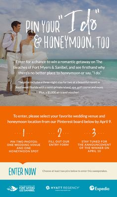 """Enter for a chance to win a romantic getaway on The Beaches of Fort Myers & Sanibel, and see firsthand why there's no better place to honeymoon or say, """"I do."""""""
