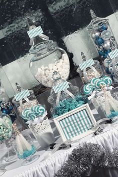 Blue and Silver Christmas- love the ideas of this table and the decorations throughout. What a fun, wintery feeling