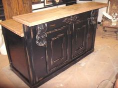 kitchen island raised bar | Kitchen island with Raised portion (to hide junk on counter?)