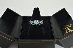 Aquamarine & Diamond Infinity Style Bridal Set 14k White Gold 1.64ct - Allurez.com Aquamarine Stone, Best Engagement Rings, Bridal Ring Sets, Bridesmaid Jewelry Sets, Aqua Marine, Bridal Jewelry, Diamond Earrings, Gemstone Rings, Fine Jewelry
