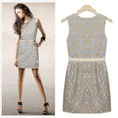 2014 Women's Sleeveless Belt Decorated Geometry Dress - Dresses