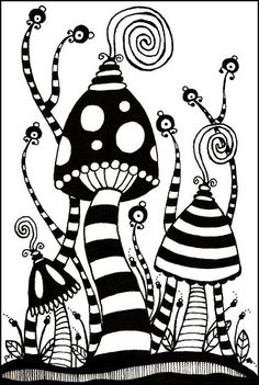 Cute!  Reminds me of Dr. Seuss --  Whoville or someplace like that.  Zentangle Postcard