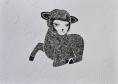 Annie Smits Sandano 'NZ Lamb Chops II' Limited Edition Woodcut print with embossing