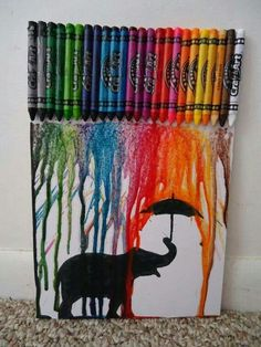 ideas with melted crayons cera derretida, crayon canvas, canvas art, cr Crayons Fondus, Melting Crayons, Crafts With Crayons, Fun Crafts, Arts And Crafts, Art Diy, Elephant Art, Art Plastique, Art For Kids