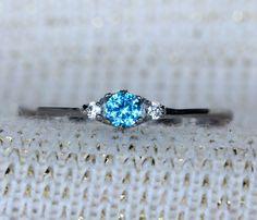 Natural Aquamarine and White Sapphire 3 stone by TheAladdinsCave