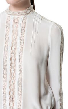 SILK LACE BLOUSE from Zara