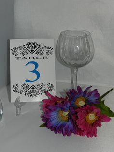 10 Damask Wedding Reception Table Numbers, Any Color  *** NICE