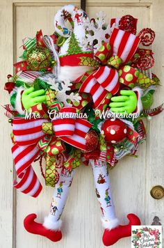 Christmas wreath, elf wreath with legs, deco mesh wreath, elf wreath, Christmas elf Gingerbread Christmas Decor, Grinch Christmas Decorations, Christmas Mesh Wreaths, Christmas Door Decorations, Christmas Swags, Deco Mesh Wreaths, Christmas Elf, Christmas Crafts, Santa Wreath