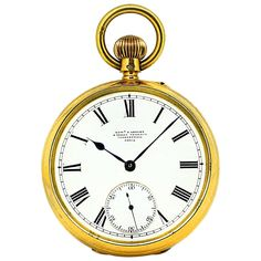 ff8457818 Edward F. Ashley English Open Face 18 Karat Yellow Gold Pocket Watch, 1890