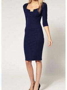 Career Woman High Waist Navy Dress with Half Sleeve