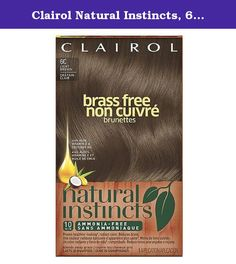 Clairol Natural Instincts, 6C, Brass Free Light Brown, 2 pk. Natural Instincts Brass Free contains brass-seeking dyes that neutralize brassy tones and gives healthy-looking hair color and shine. Use it once a month and Brass Free will give you all the color without the brass. Non-permanent color. Formula lasts up to 6 weeks. Blends away grays. Brass seeking dyes counteract unwanted red or orange tones.