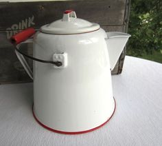 Vintage Large White and Red Enamel Kettle Camping Coffee Pot Rustic Cottage Decor by corrnucopia on Etsy