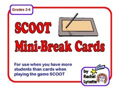 FREE Mini-Break Task Cards for SCOOT, when you have more students than cards.