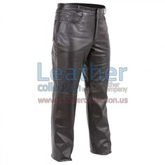 5-Pocket Jean-Style Motorcycle Pants, Classic fitted, lined all the way to the knee, Great classic look and feel of high quality Top Grade cowhide leather. Unfinished hems. Wear them as they are or have them hemmed. Exclusive style and design