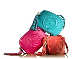 Sophisticated Style. leather disco Soho Bag in light blue, fuchsia and orange