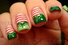 Christmas elf stockings nail polish manicure