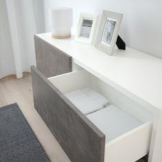 IKEA BESTA White Kallviken/stallarp, Dark Gray Concrete Effect Storage combination w doors/drawers Ikea Skubb, Frame Shelf, Plastic Foil, Drawer Fronts, Interior Accessories, Storage Spaces, Cleaning Wipes, Home Furniture, Drawers