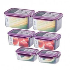 Lock & Lock Rectangular Food Container 12-Piece Set (6-Containers with Purple Lids)