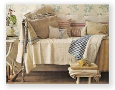 Fabrics-  French mattress ticking, blue, red or beige stripes and red and blue gingham
