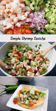 Simple Shrimp Ceviche - Food Recipes - #mexicanshrimprecipes - Simple Shrimp Ceviche - Food Recipes... Mexican Shrimp Recipes, Cooked Shrimp Recipes, Cajun Shrimp Recipes, Chicken Skillet Recipes, Shrimp Ceviche, Healthy Dishes, Food Dishes, Side Dishes, Avocado